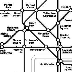 Versión en blanco y negro del mapa del metro de Londres