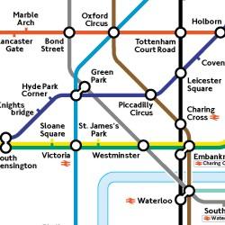 Mapa del metro de Londres. El mapa contiene diferentes puntos y diferentes líneas que se entrecruzan, cada una de un color