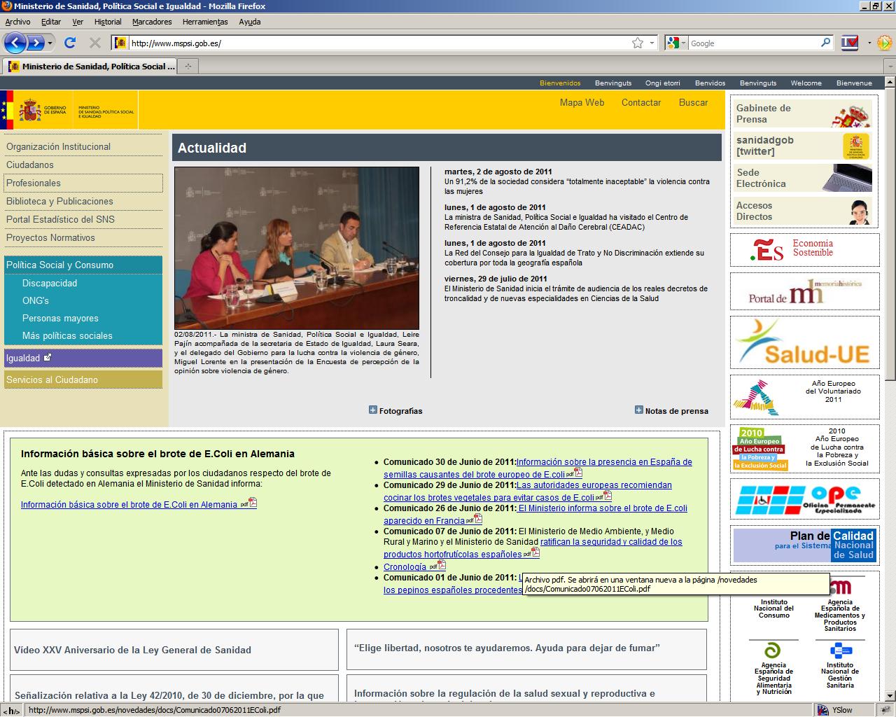 Accesibilidad web ministerio de sanidad pol tica social for La pagina del ministerio