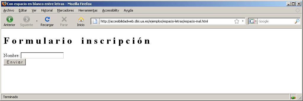 Accesibilidad Web Espacio Entre Las Letras De Una Palabra - Espacio-en-blanco-html