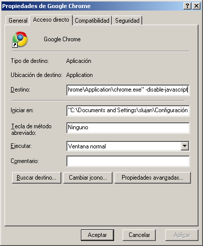 Inicio de Chrome sin soporte para JavaScript